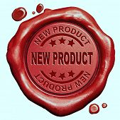 new product launch latest release promotion red wax seal stamp button poster