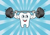image of Cartoon Tooth Character Lifting Weights poster
