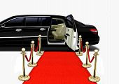 Black Limo on Red Carpet Arrival over White poster