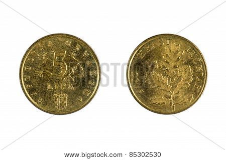 Croatia Coins On White
