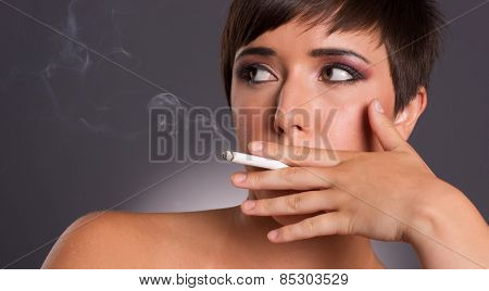 Young Woman Inhales Cigarette Smoke Intimate Smoker Portrait