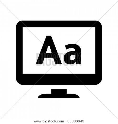 Computer LCD display with letters icon