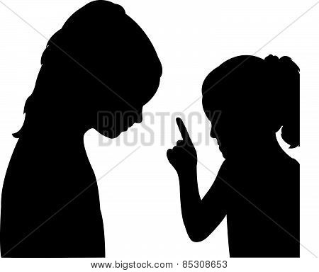 child warning her friend other, silhouette vector