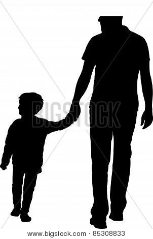 father and son walking, silhouette vector