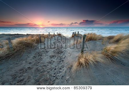 Sand Path To North Sea Beach At Sunset