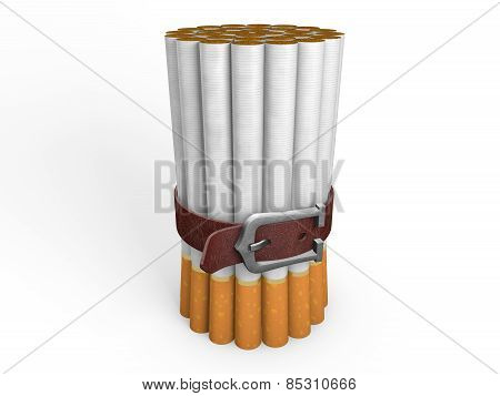 Belted stack of cigarettes isolated