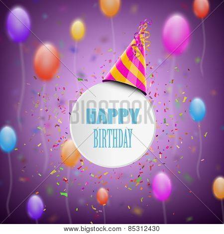 Happy Birthday Composition With Blur Background.