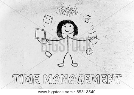productivity and multitasking: business woman juggling with office objects poster