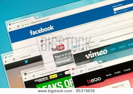 Social Networks On A Computer Screen. Facebook, Twitter, Youtube, Vimeo, Bebo And Myspace.
