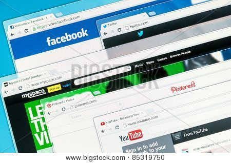Social Networks On A Computer Screen. Facebook, Twitter, Myspace, Youtube And Pinterest.
