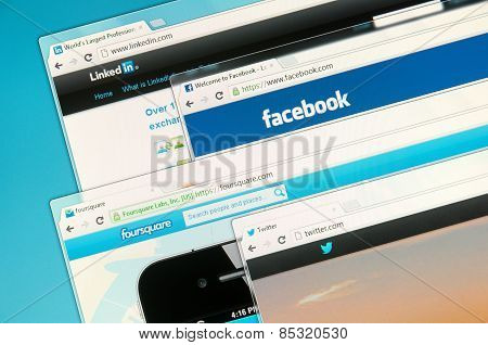 Social Networks On A Computer Screen. Facebook, Foursquare, Twitter  And Linkedin.