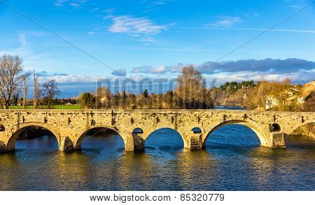 The Pont Vieux a bridge over the Orb in Beziers France poster