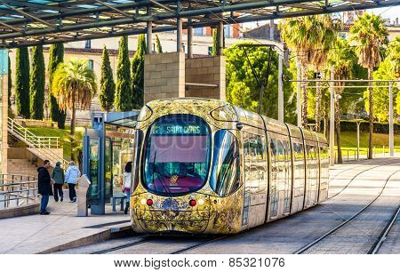 Montpellier, France - January 05: Alstom Citadis 302 Tram On January 5, 2014 In Montpellier, France.