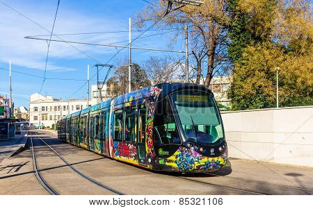 Montpellier, France - January 05: Alstom Citadis 402 Tram On January 5, 2014 In Montpellier, France.