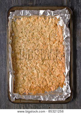 Rustic Almond Florentine Biscuit On Baking Sheet