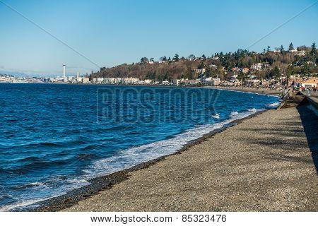 Alki Beach In West Seattle, Washington