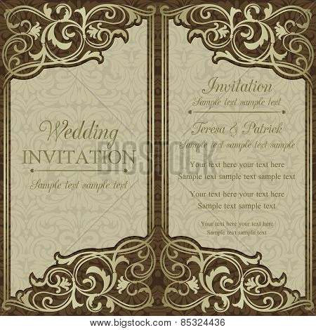 Baroque wedding invitation, brown