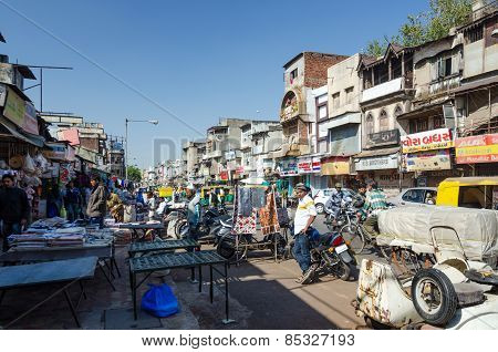 Ahmedabad, India - December 28, 2014: Unidentified Indian People On Street Of The Ahmedabad City