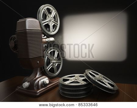 Cinema, movie or video concept. Vintage projector with projecting blank and reels of film. 3d