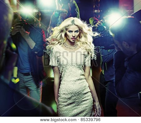Stunning blonde beauty and press photographers