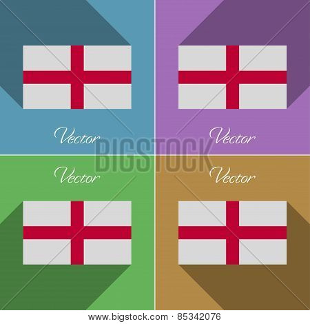 Flags England. Set Of Colors Flat Design And Long Shadows. Vector