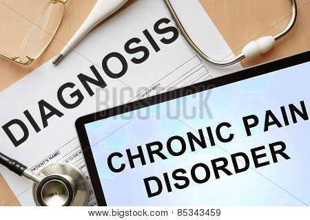 Tablet with diagnosis chronic pain disorder and stethoscope.
