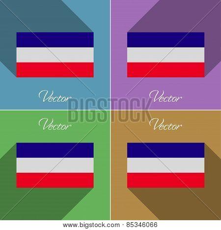Flags Los Altos. Set Of Colors Flat Design And Long Shadows. Vector
