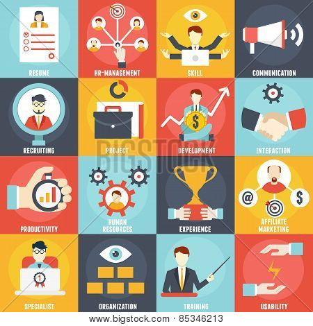 Set Of Human Resources Management Icons