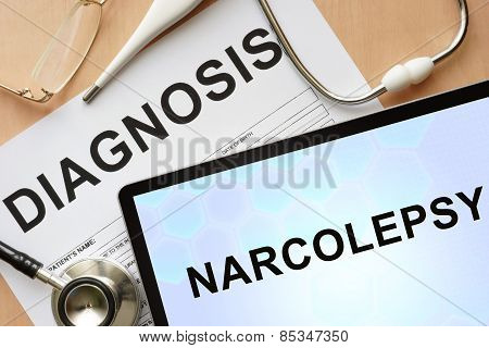 Tablet with diagnosis narcolepsy  and stethoscope.