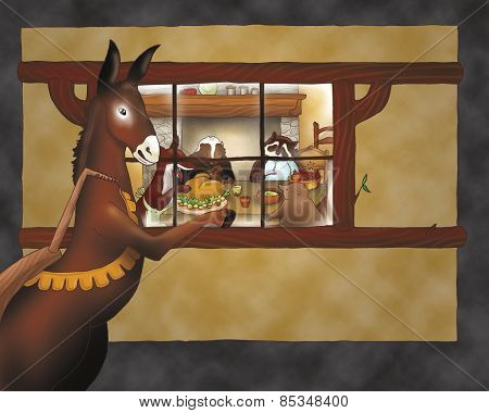 Donkey looking in a house