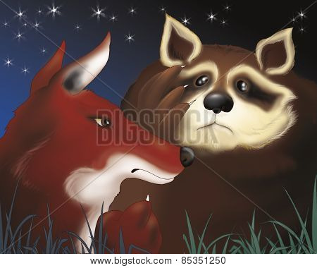 A scared raccoon and a fox by night. Digital illustration of the Grimm's fairy tale: Bremen town musicians. poster