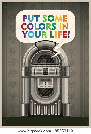 Vintage poster with jukebox. Vector illustration.