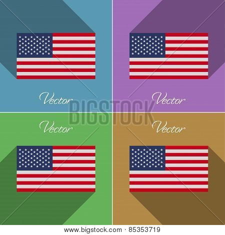 Flags Usa. Set Of Colors Flat Design And Long Shadows. Vector
