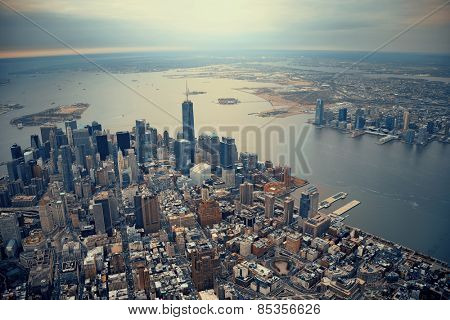 New York City Manhattan downtown aerial view