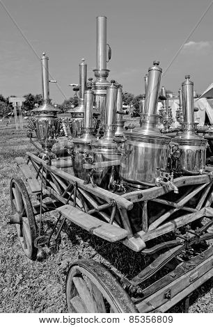 Old Russian samovar on a wooden cart