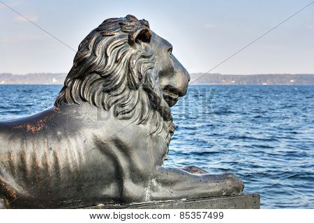 Lion Statue At Lake Starnberg