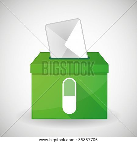 Green Ballot Box With A Pill