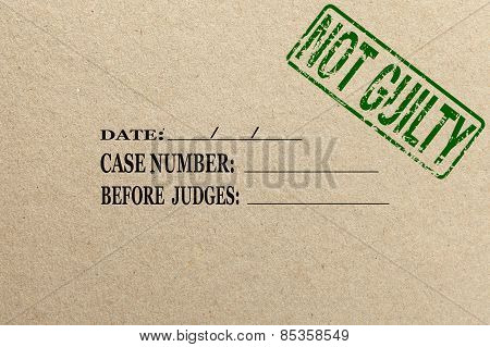 Paper texture with Not guilty court folder