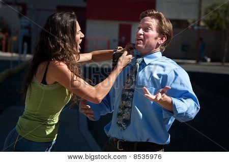 Girlfriend Fixes Her Boyfriends Shirt And Tie