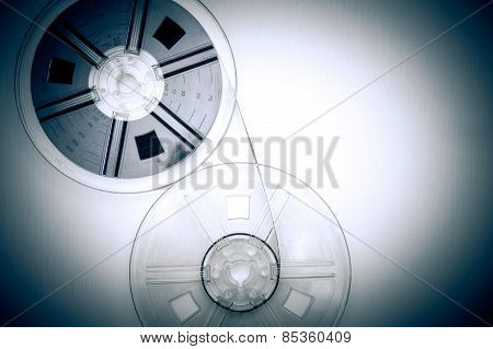8Mm Movie Reels In Vintage Color Effect