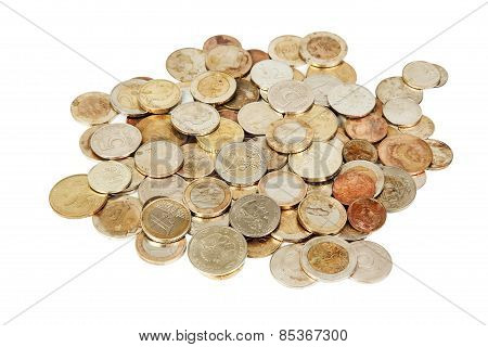 Different Old European Coins On White