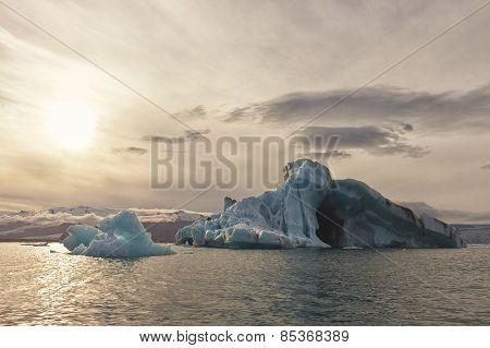 Iceberg In Jokulsarlon Glacier Lake In Iceland