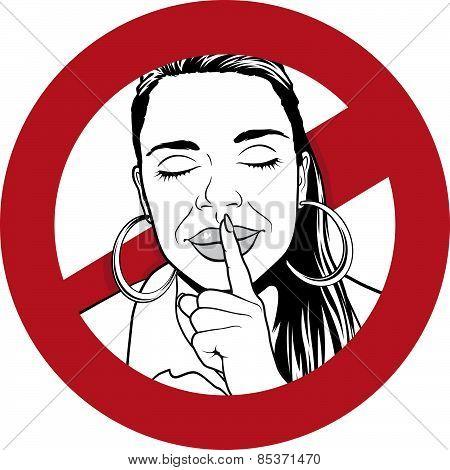 Sshhh Silence Warning Sign.