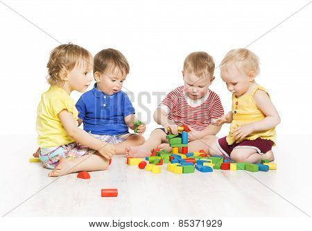 Children Group Playing Toy Blocks. Little Kids Early Development. Baby Activity One Year Old Games
