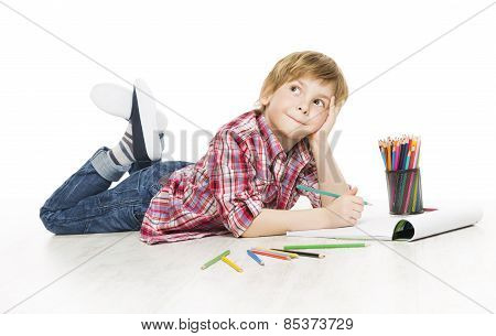 Little Child Boy Drawing By Pencil, Artistic Creative Kid Thinking And Dreaming Creativity Idea
