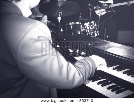 musician playing hammond organ poster