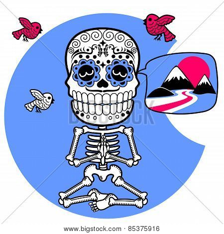 Skeleton Meditating