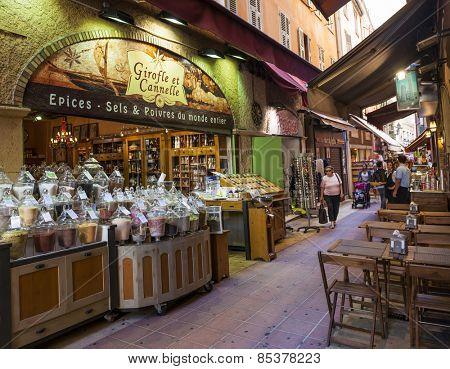 NICE, FRANCE - OCTOBER 2, 2014: Gourmet food shop