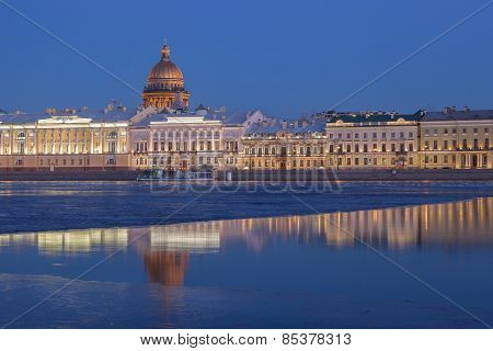 English Embankment And Saint Isaac's Cathedral At Sunset, St. Petersburg