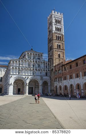 The Square Of St Martin In Lucca (italy). Vertically.